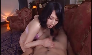 black-haired chinese beauty in hot panty giving epic rough blowjob