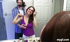 Self shots in the rest-room and after which a deepthroat blowjob in POV style