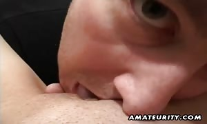 A beautiful brown haired noob gf home-made gonzo action with g-spot toying and mouth-fuck ending with facial jizz shot !