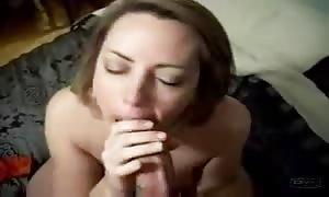 aroused wife sucks husband's huge pecker on rookie sex video clip!