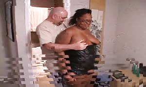 fatty ebony female is deep-throating a rigid pecker with out using hands