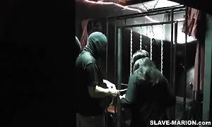 This is brandnew. I've filmed this one on last Saturday, February 11, 2012. My nasty sex victim Marion was well punished once more in a room full length of boys. It was an Adult Theater, where I main shackled my .