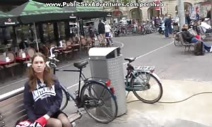 Real funny lady goes for outdoor stiff anus sex screwing