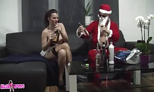 aroused Santa drills horny dark haired with remarkably giant juggs