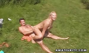 Two turned on girls sharing one shaft outdoor ! home-made outside