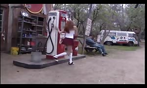 red head schoolgirl penetrated on a bench outside