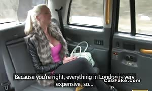 big-boobed British blond takes butt hole in pretend taxi