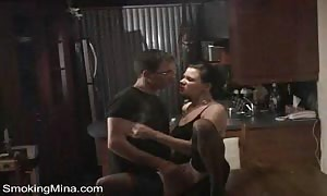 steamy wife inhales and drags
