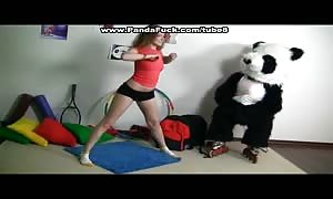 Sporty sexy teenager drills with funny Panda