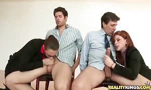 Cum-loving avenue walkers kneeling down and taking enormous pricks in their mouths