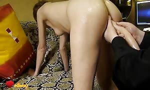 Her mouth-watering rounded anus is getting your hands on rammed by a lengthy pretend pecker