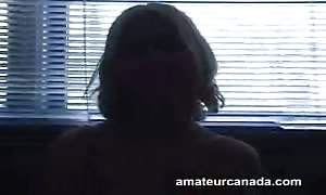 Short-haired blond really want to play with her sex toy