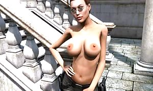 lara croft 3some
