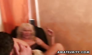 two large chested new comer housewives homemade xxx 3some action with blowjob, bang and cum shot !