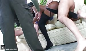 3some backstage scene with a turned on escort Jasmine