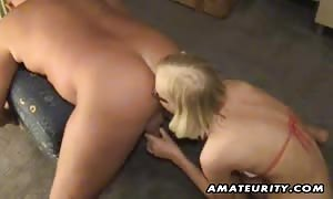 A beautiful blonde amateur girl-friend toys her boyfriend's booty and offers horny face-fuck with cash shot ! real beginner gonzo action