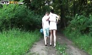 teen newcummer fuck friends walks in the park to make wild sex