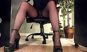 long legged receptionist below desk solo masturbating alone