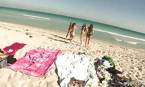hot girls are having fun on the beach