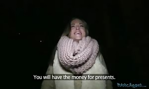 Tanned street walker taking penis in her beaver simply for cash!