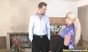 dressed blonde deep throat her customer in CFNM Secret video clip