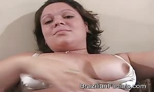 talented Brazilian mom I would choose to fuck munches a manhood only to get a facial dose