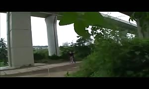 horny schoolgirl inserted into outdoors underneath the highway
