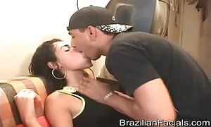 Smiling innocent Brazilian nails and can