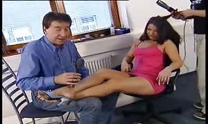 Horned dark-haired Latin girl with great hair gobbles manhood