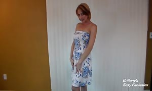 blond in Cotton undies gives JOI and kneeling up-skirt Fun