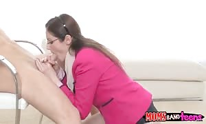 slim blond youngster is throating shlong in front her mommy