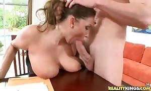 beautiful dark-haired mommy Stacie Starr sucks dick to Jmac