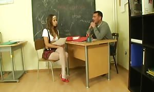 teacher keeps his pants on and nails schoolgirl