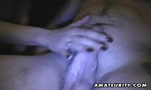A dark haired newbie girl-friend beginner rough blowjob with money shot in her mouth  She guzzles it all ! A great cocksucker in action.