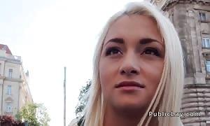 blonde deep throat cock and fuckin' in public pov