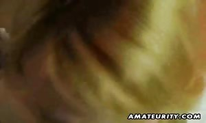 A massive chested blonde amateur girl-friend home made hard-core action with face fuck and screw and cum gobbling.