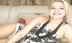 Russian blonde fills out her tiny slot with a condom sex toy