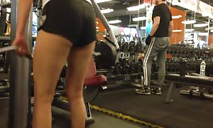 japanese woman Working Out in butt Shorts