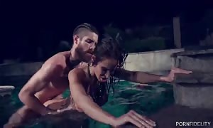 awesome hooker is having xxx sex right in the pool