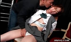Schoolgirl moans for his finger fucking and titty licking