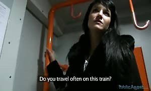 teensy brunette is being seduced and penetrated in the train
