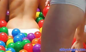 4 bare naked rookie are playing in the balls with Abby Winters
