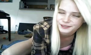 thin blond youngster on webcam