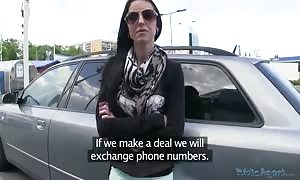 woman in sunglasses is pounding for money in the video clip by Public Agent