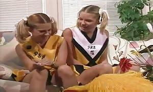 aroused teenie cheerleaders in a three-way