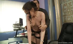 Andy Brown gets penetrated and degraded in her office
